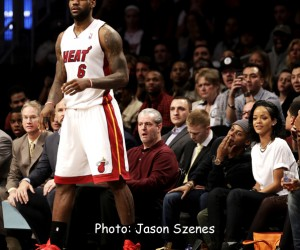 Rihanna at Brooklyn Nets v Miami Heat game on Jan. 10, 2014