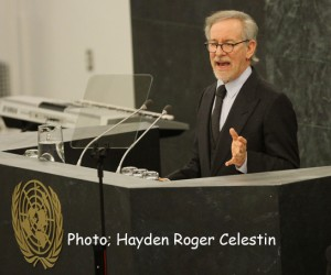 """Mr. Steven Spielberg, speaking on Monday January 27, 2014, at the United Nations Headquarters, New York, during the Memorial Ceremony, to mark the International Day of Commemoration in Memory of the Victims of the Holocaust on the theme """"Journey through the Holocaust."""" Photo: Hayden Roger Celestin"""