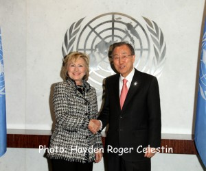Former US Secretary of State, Hillary Rodham Clinton, paid a visit to UN Secretary General, Ban Ki moon, at  the United Nations Headquarters, New York City, Tuesday February 4, 2013. Photos: Hayden Roger Celestin