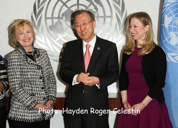 Hillary Rodham Clinton and UN Secretary General Ban Ki moon Chelsea Clinton