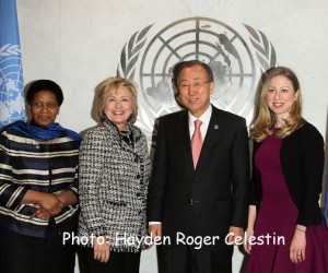 Hillary Rodham Clinton and UN Secretary General Ban Ki moon Chelsea Clinton at  the United Nations Headquarters, New York City, Tuesday February 4, 2013. Photos: Hayden Roger Celestin