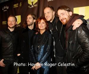 Susan Surandan and Imagine Dragons at the Amnesty International Concert on Feb. 5, 2014. (Hayden Roger Celestin image)
