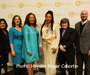 L-R: Lisa Garcia Quiroz, Janelle Rodriguez, Faith Taylor, Maryanne Howland, Erika Karp and  Michael Wass at the Global Diversity Leadership Exchange  on Mar. 27, 2014.