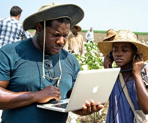 Steve McQueen on the set of 12 Years A Slave