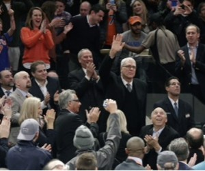 Phil Jackson greeted by fans in NYC.