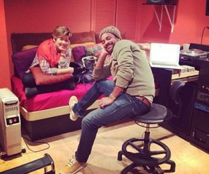 Tessanne Chin and Shaggy in a recent writing session. (Facebook image)