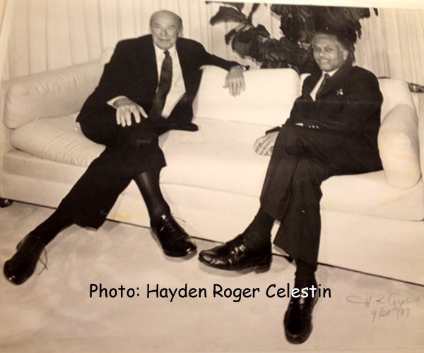 Former US Secretary of State, George Shultz, under President, Ronald Reagan, and Former Prime Minister of Trinidad & Tobago, A.N.R. Robinson, pose for photographers during a photo-up, before their bilateral meeting on 9/28/1987
