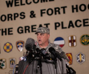 Lt. Gen. Mark Milley, commanding general of III Corps and Fort Hood, speaks with the media outside the military base on Wednesday, April 2, 2014. AP Photo/Tamir Kalifa