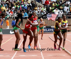 Carrie Russell, Kerron Stewart, Anneisha McLaughin and Trisha-Ann Hawthorne took the win for Jamaica in the USA vs. the World Women 4x100 race at the 120th running on the Penn Relays on April 26, 2014.