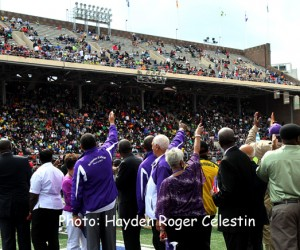 Jamaicans celebrate with 'The Lightning Bolt' at the 120th running of the Penn Relays.