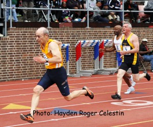 The men's masters, 75 and older athletes, at the 2014 Penn Relays on April 26, 2014.
