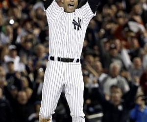 New York Yankees shortstop Derek Jeter celebrates his game winning hit in the ninth inning against the Baltimore Orioles at Yankees Stadium in the Bronx, New York, USA, 25 September 2014.  The Yankees defeated the Orioles 6-5. This is Jeter's last professional game as a Yankees at Yankees stadium. (Jason Szenes image)
