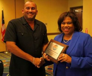 Barbados Minister of Tourism and International Transport, Richard Sealy takes the reins from USVI Commissioner of Tourism, Beverly Nicholson-Doty