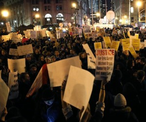 Thousands Of Demonstrators Filling Lower Manhattan on Dec. 4, 2014.