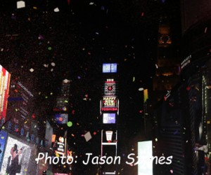 A general view of New Year's Eve in New York's Times Square, USA, 01 January  2015. The ball, which will be watched by millions of people, is covered in 2,688 Waterford crystals and is 12 feet in diameter. (Jason Szenes image)