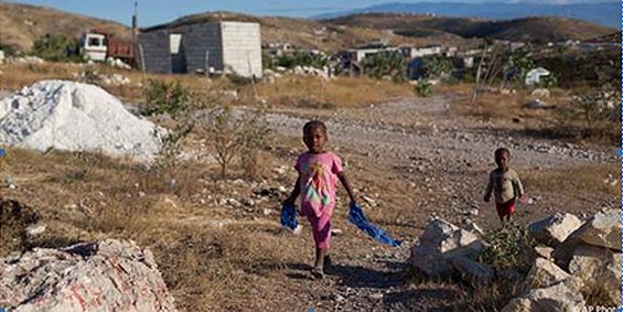 Children Walk on the Hills Near Port-au-Prince, Haiti