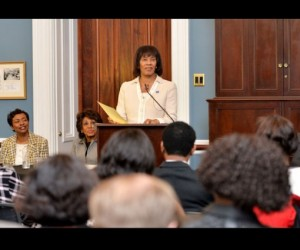 Prime Minister Portia Simpson Miller addresses members of the Congressional Black Caucus (CBC) in the US House of Representatives and other senior member of the United States Congress, as well as officials of the International Monetary Fund (IMF) and the US Department of State at the Capitol Building in Washington D.C .on Monday (January 26). During her address, Prime Minister Simpson Miller thanked members of the CBC who played a major role in lobbying the IMF in 2012 to negotiate an Agreement with the Government of Jamaica. She also gave an update on the progress of the Jamaican economy, encouraged greater levels of US investments in Jamaica and lauded the move towards normalisation of relations between the USA and Cuba. Listening attentively to the PM are from left Congresswoman Yvette Clarke and Maxine Waters and First Deputy Managing Director of the IMF, David Lipton.
