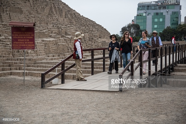 Tourists visit the Huaca Pucllana archaeological site in Lima, Peru. (Photo by Sebastian Casta–eda/Anadolu Agency/Getty Images)