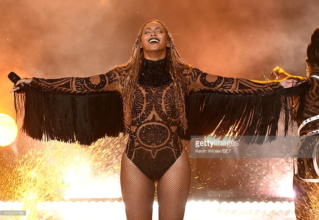 Neither Rihanna or Nicki Minaj were at the 2016 BET Awards but rRecording artist Beyonce (C) was among the performers on Sunday, June 26, 2016. (Photo by Kevin Winter/BET/Getty Images for BET)