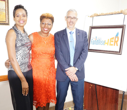 Valrie Grant and A. Cecile Watson with Hon. Dominic Gaskin, Minister of Business Guyana who at the launch of FUNDRise Her.